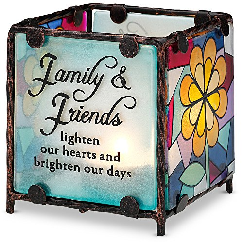 Fusion Candle Holder - Shine on Me by Pavilion Glass Candle Holder, Family Sentiment, 3 by 3-Inch
