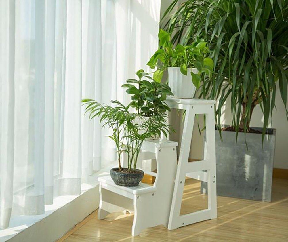 はしご便 3層折り畳み可能なはし台スツール木製ベンチ多機能ポータブル階段スツール (色 : 白) B07F3LQM5V 白 白