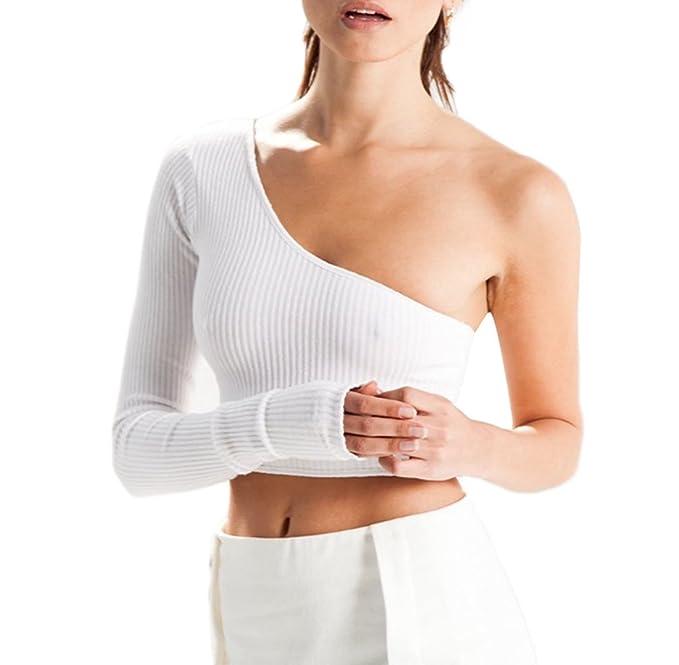 0d6737342407da WOZNLOYE Estivi Donne Crop Top Moda Monospalla Maglie a Manica Lunga T-Shirt  Elegante Tinta Unita Maglieria Bluse Strette Corta Maglietta Camicie: ...