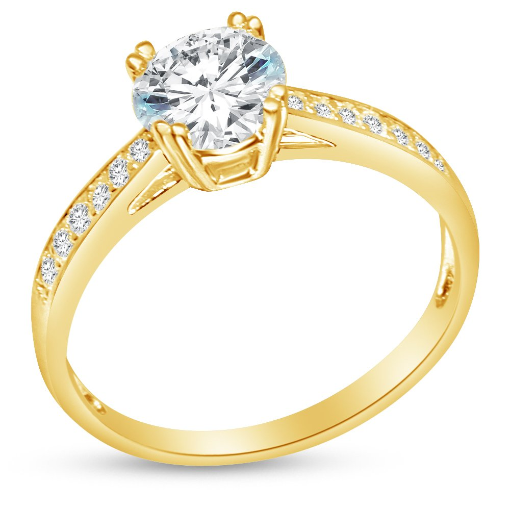 Size - 8 - Solid 14k Yellow Gold Round Cut Tapered Double Prong Solitaire Engagement Ring CZ Cubic Zirconia (1.50cttw., 1.0ct. Center)