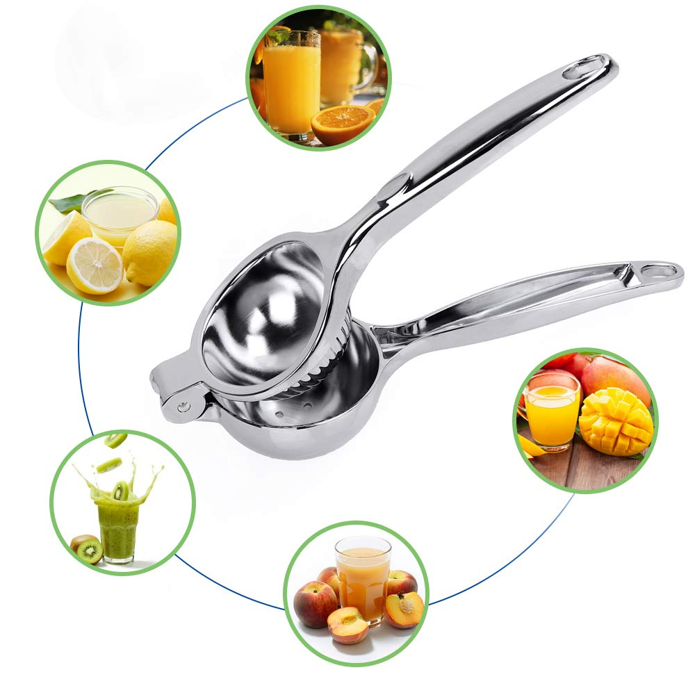 KMEIVOL Lemon Squeezer, Quality Stainless Steel Lime Squeezer, Heavy Duty Solid Metal Citrus Squeezer, Lemon Juicer for The Most Juice Possible, Hand Juicer, Dishwasher Safe Manual Juicers, Silver