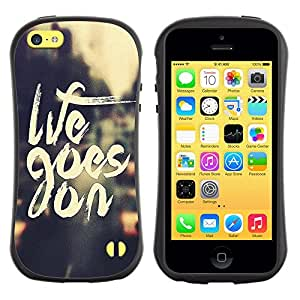 Suave TPU Caso Carcasa de Caucho Funda para Apple Iphone 5C / Goes On Motivational Quote Vignette / STRONG