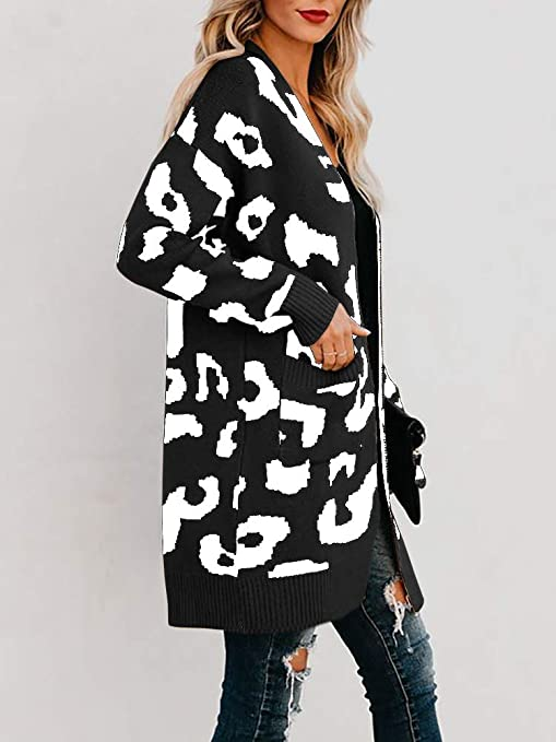 Msikiver Womens Leopard Print Cardigan Sweater Open Front Long Sleeve Loose Knit Coat with Pockets