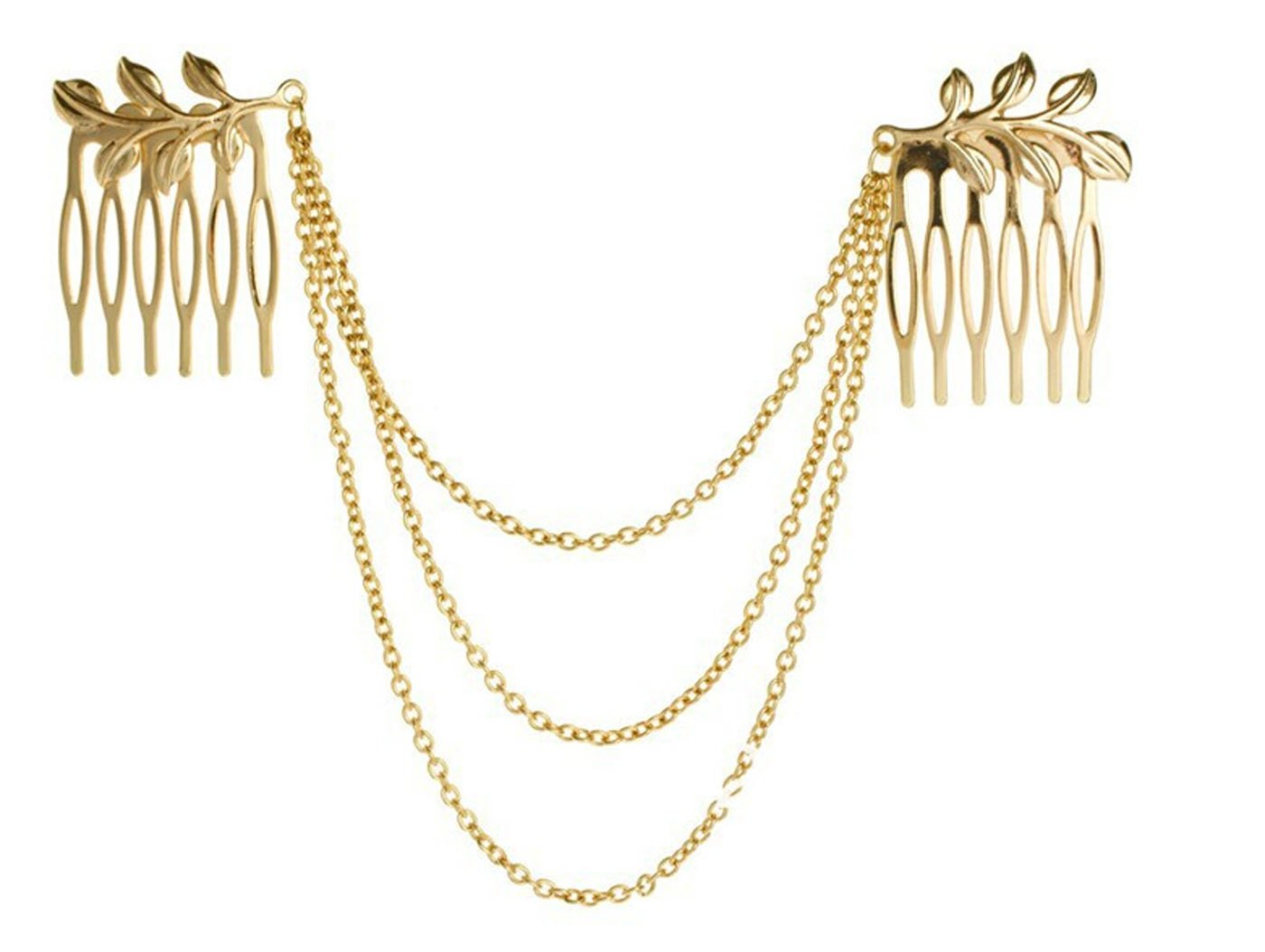 HYYIdealism Vintage Gothic Style New Ladies Metal Chain Fringe Tassel Hair Comb Cuff Head Hair Band-Gold hair Accessory