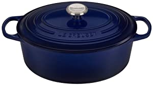Le Creuset Signature Indigo Enameled Cast Iron 6.75 Quart Oval Dutch Oven