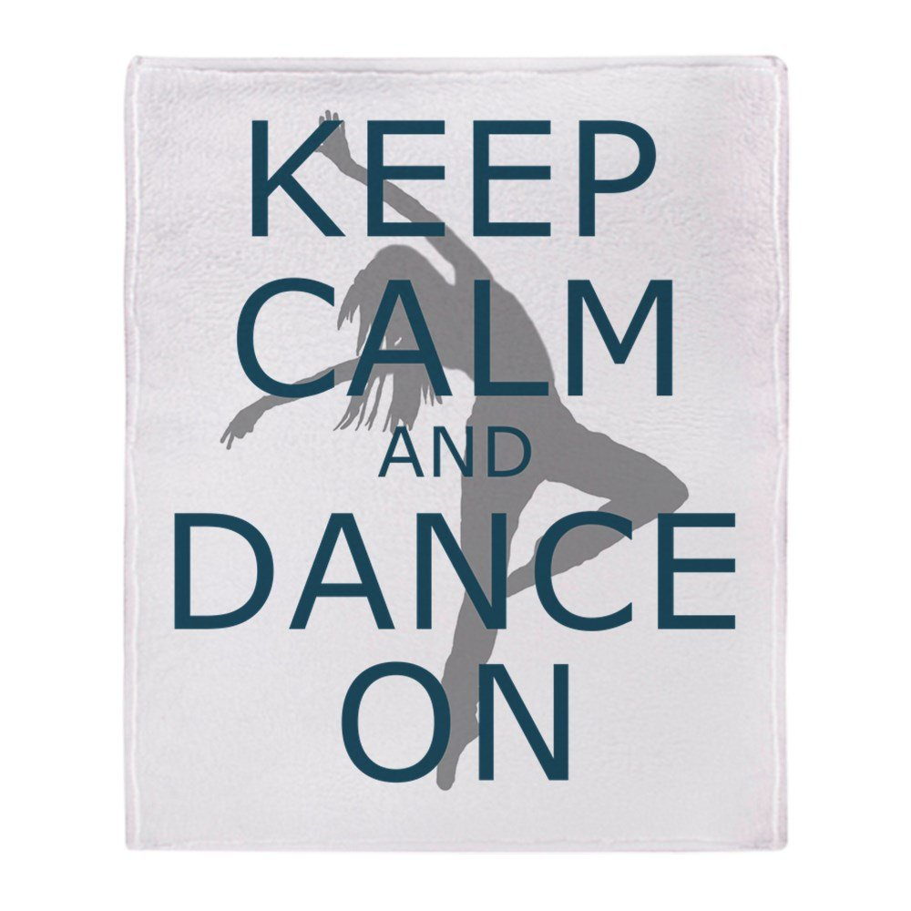 CafePress – Keep Calm and Dance On Teal – ソフトフリーススローブランケットブランケット、50