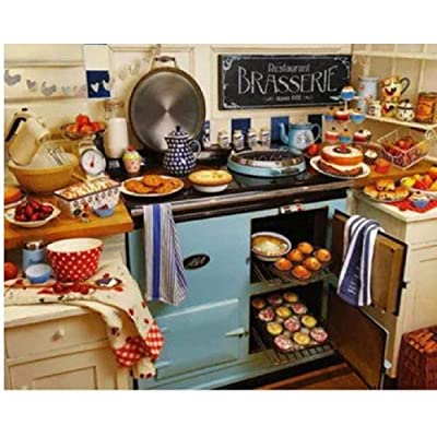 BJBJBJ 1000 Pieces of Wooden Puzzles Puzzle Adult Jigsaw Puzzle Wooden Kitchen with Lots of Food Art Leisure Games Toys Home Decor: Toys & Games
