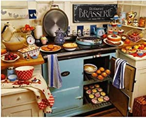 BJBJBJ 1000 Pieces of Wooden Puzzles Puzzle Adult Jigsaw Puzzle Wooden Kitchen with Lots of Food Art Leisure Games Toys Home Decor