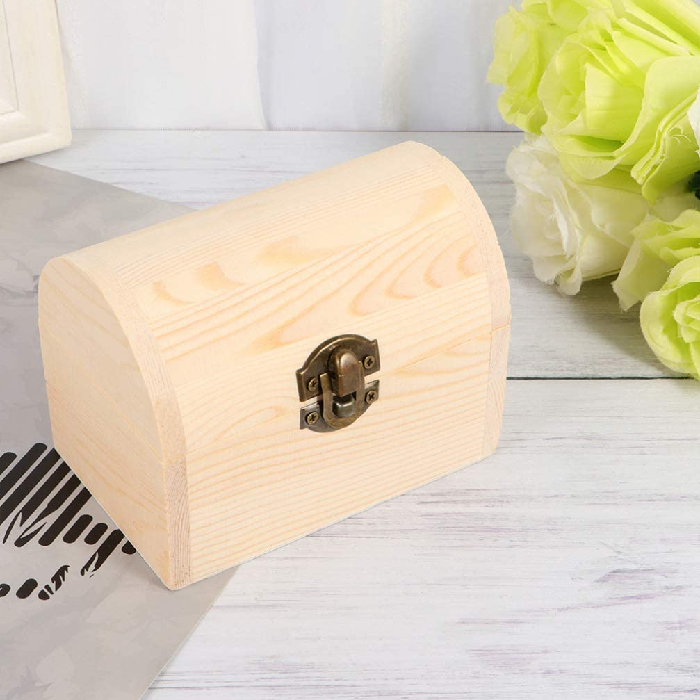 ARTIBETTER 2Pcs Paintable Wooden Box Unfinished Wood Craft Box for Gift Jewelry Photo Storage Arch