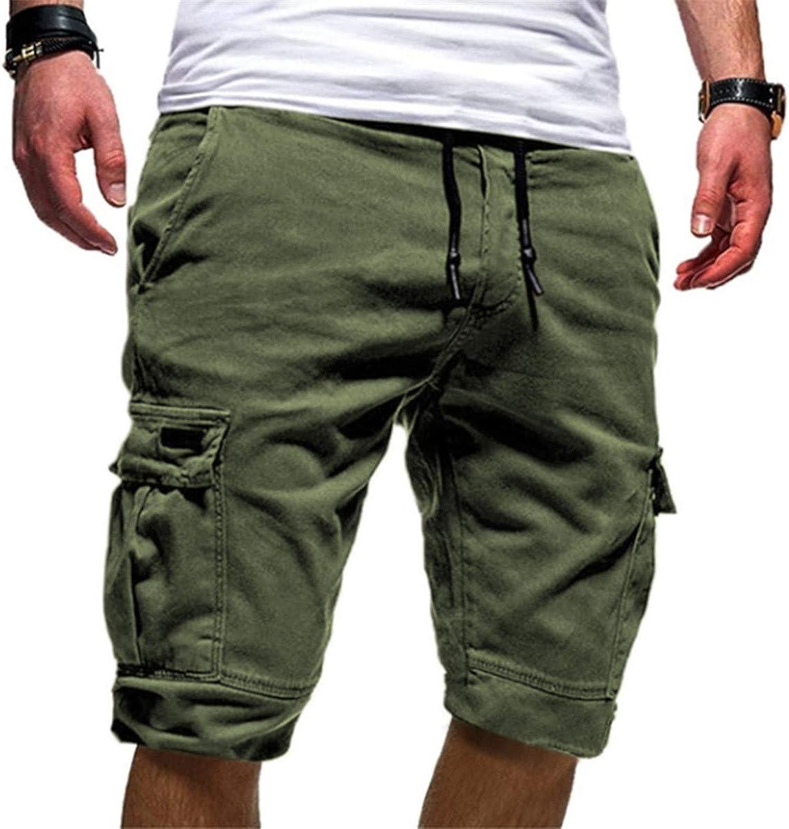 KLJR Men Multi Pockets Casual Solid Elastic Waist Slim Cargo Pants