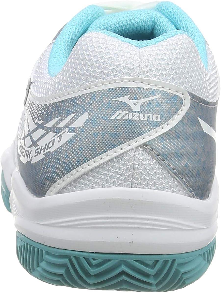 Mizuno Break Shot 2 CC, Chaussures de Tennis Femme Blanc (White/Silver/Blue Curacao 03)