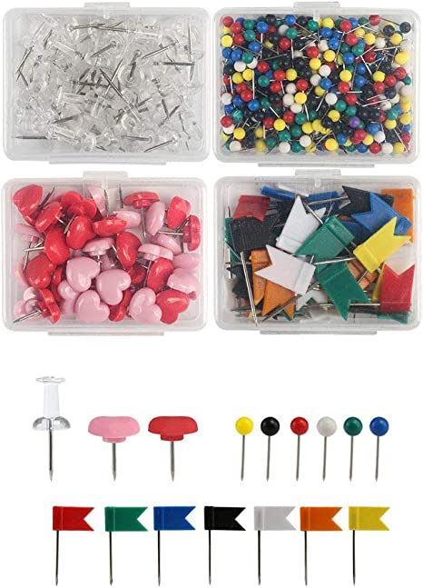 100 Stück Karte Flagge Stecknadel Reißnägel, 7 Farben Sortiert D2V1 1X