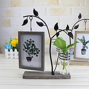 Garden Decoration Unique Family Piture Frame 4x6 Vertical Metal Tree Desk Photo Frames with Glass Terrarium Vase Flower Plants (Tree)