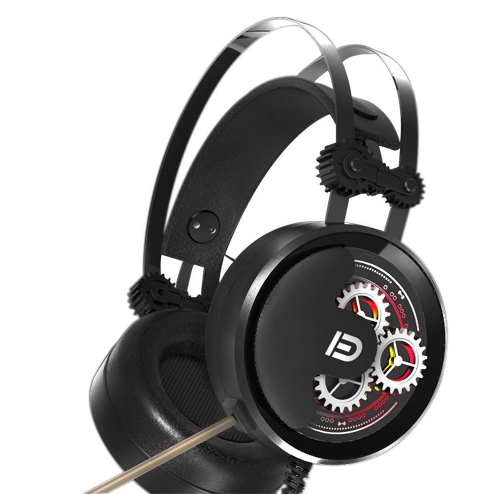 Gaming Headset, FD X9 Computer Game USB Over Ear Headphones with MIC, 7.1 Surrounding Stereo, Noise Reduction, Volume Control and LED Breathe Light for Computer, PC, Laptop, Mac (Black)