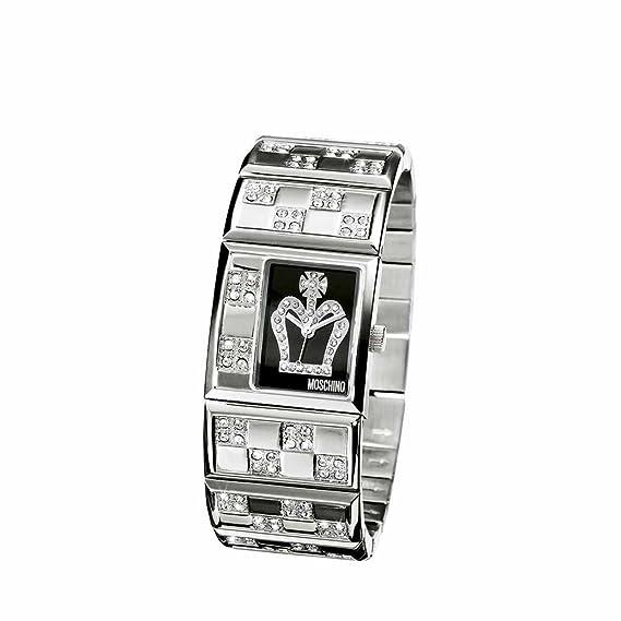 Moschino MW0025 - Reloj analógico de mujer de cuarzo con correa de acero inoxidable plateada - sumergible a 30 metros: Amazon.es: Relojes