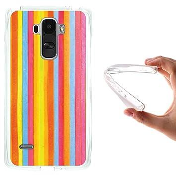 WoowCase Funda para LG G4 Stylus, [LG G4 Stylus ] Silicona Gel Flexible Acuarela - Rayas, Carcasa Case TPU Silicona - Transparente