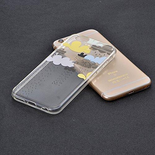 Funda iPhone 7 Case Clear Sunroyal® Premium TPU Carcasa Impresión Suave Ultra Slim / Resistente a los Arañazos Flexible Bumper Transparent Case Cover [Ultra-delgado] [Shock-Absorción] [Anti-Arañazos]  D-01