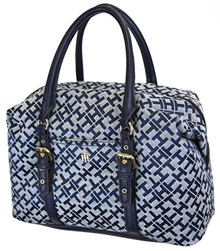 Tommy Hilfiger Women's TH Monogram Satchel Bowler Handbag - Navy, White
