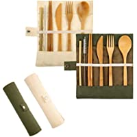 2 Bamboo Travel Cutlery Set, Pyhot Travel Cutlery Set Eco Friendly Gift with Slim Travel Pouch- 6 Pieces, Knife, Fork…