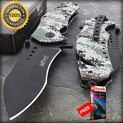 8.75'' MTECH USA DIGITAL CAMO SPRING ASSISTED FOLDING POCKET KNIFE Combat Tactical Knife + eBOOK by Moon Knives