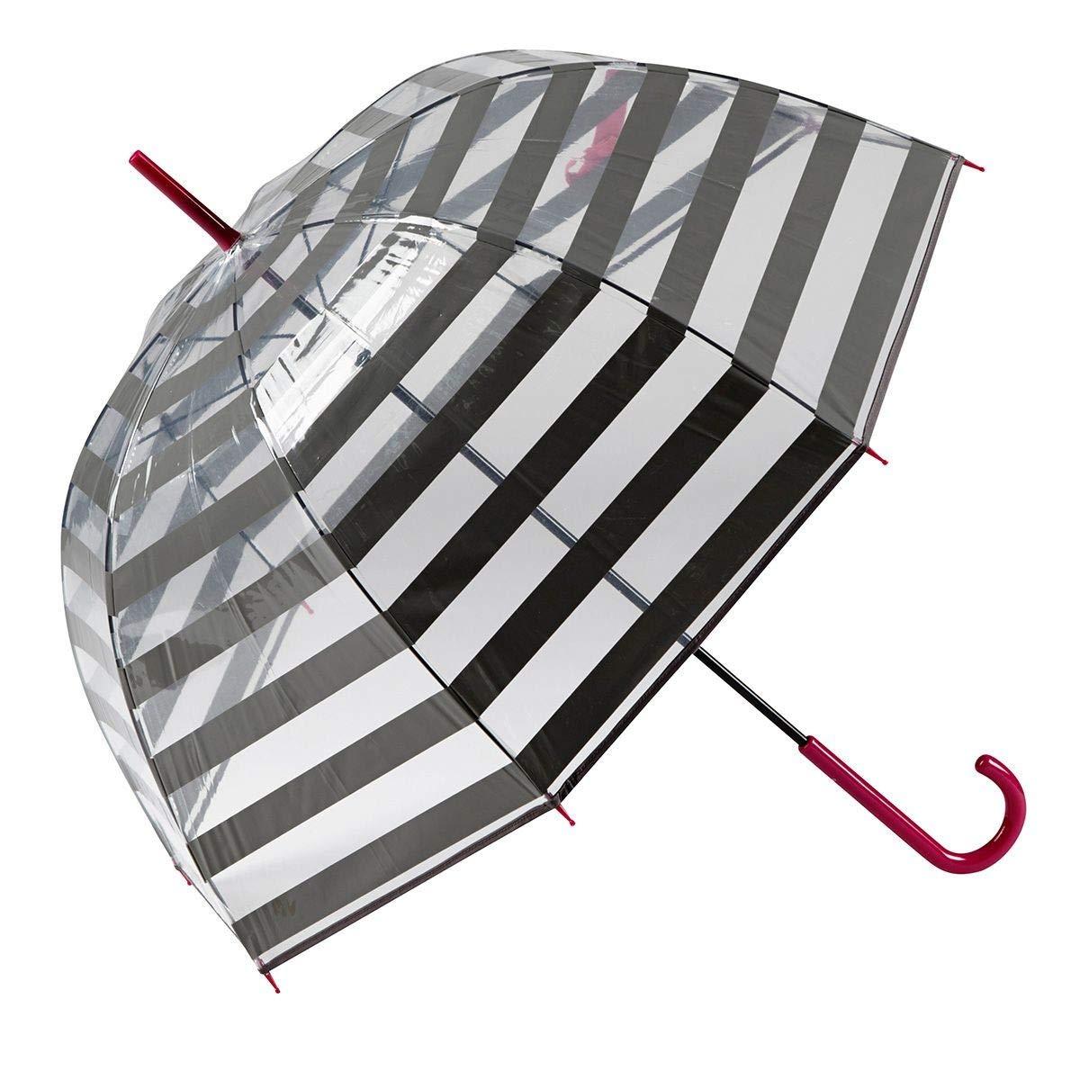 Original paraguas transparente largo con estampado de rayas. Opción de colores.