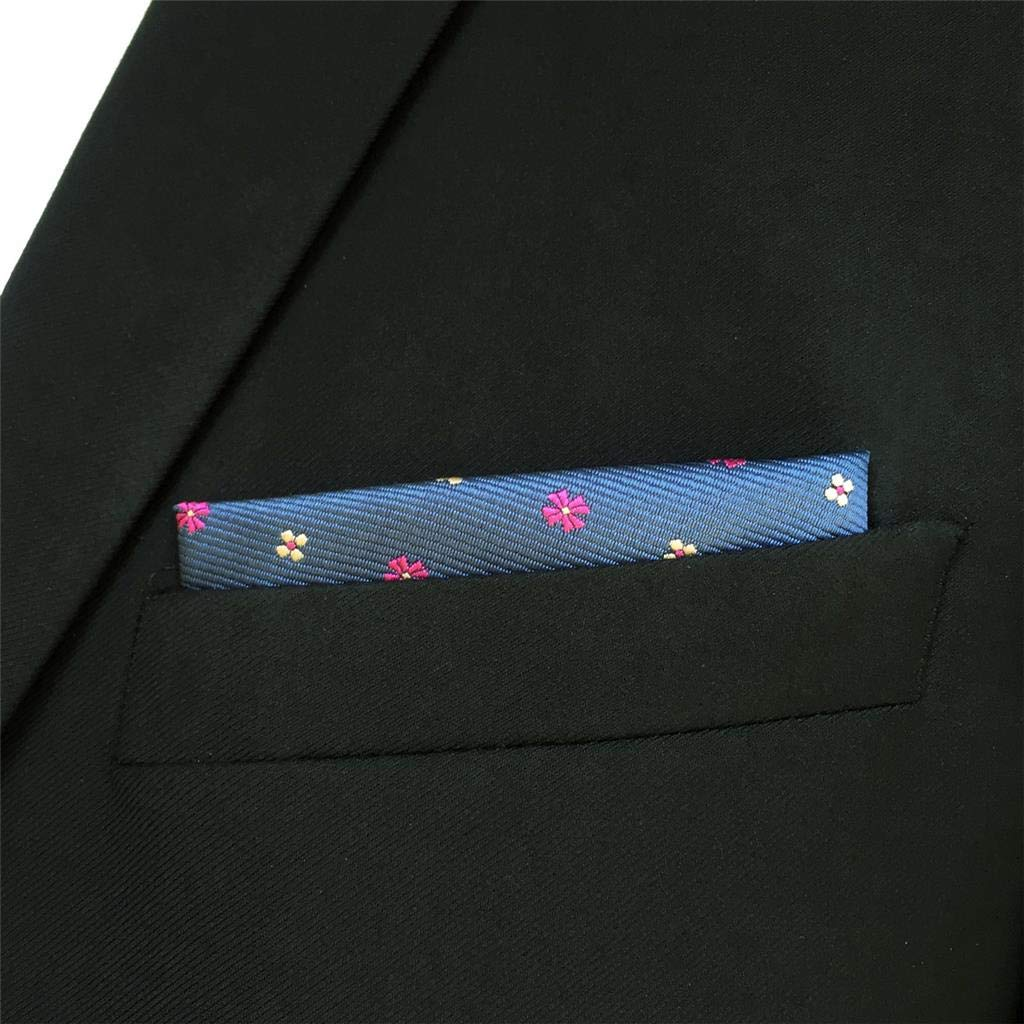 S/&W SHLAX/&WING Mens Pocket Square Floral Blue Pink Handkerchief for Party