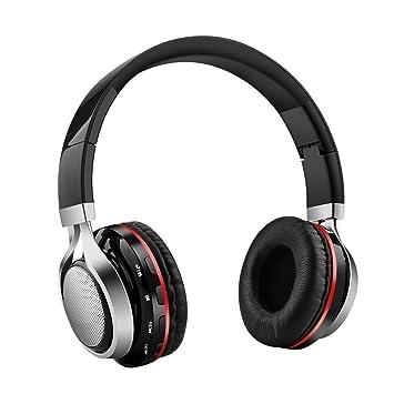 Aita BT816 Auriculares Bluetooth de Diadema Plegable, Cascos Estéreo con luz LED, radioFM, ranura para tarjeta de memoria micro SD, Micrófono para uso ...