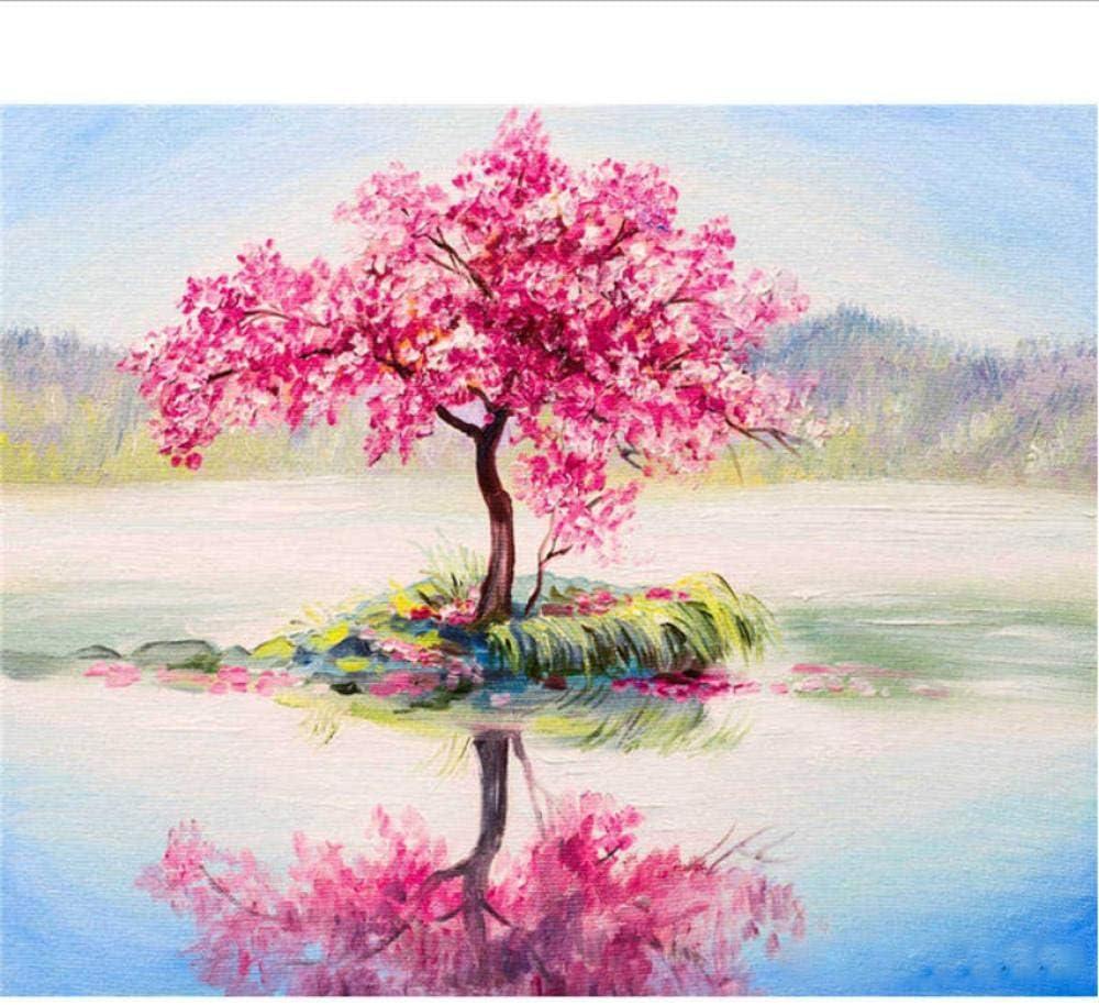 Pintura Por Numeros Pintar Por Números,Colorear Por Números,Cuadros De Decoración Del Hogar,Decoraciones De Flores De Árboles De Paisaje 16X20Inch(40X50Cm) H