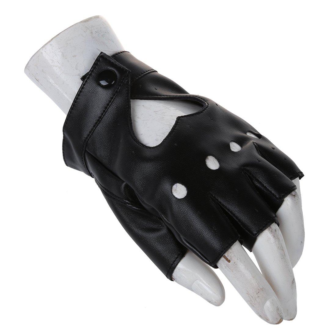 5407a98e521557 SODIAL(R) Damen Fingerlose Handschuhe Damen PU Leder Niete Fingerlose  Handschuhe Schwarz: Amazon.de: Bekleidung