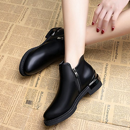 KHSKX-Low Head High Shoes With A Korean Woman And All-Match Winter Cotton Shoes And Ankle Boot Boots Black uFLH6ECVkW