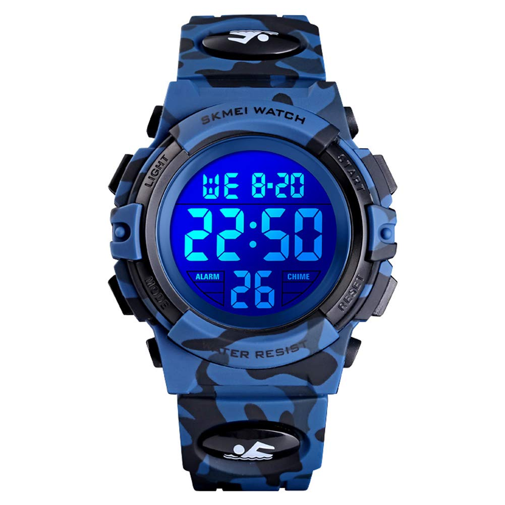 eYotto Kids Sports Watch, Boys Camouflage Military Digital Wristwatches Outdoor Waterproof LED 7 Colorful Alarm Stopwatch by eYotto
