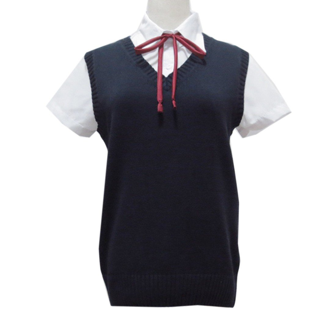 Winson Women Sleeveless V Neck Cotton School Girls JK Uniforms Vests Knitting Tops