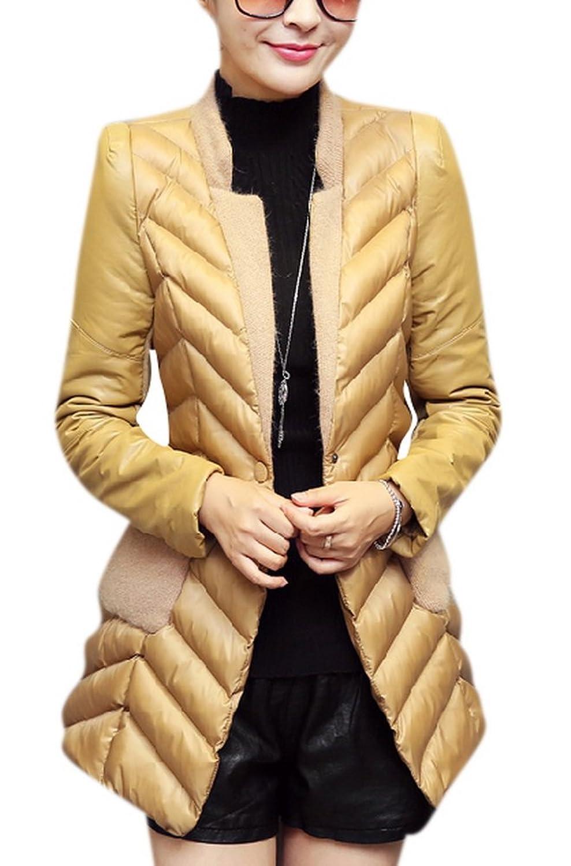 Allbebe Women's Winter Slim Fashion Suit Knit Collar Padded Jacket Coat