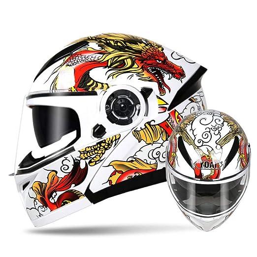 YWLG Cascos De Motocicleta para Hombre Flip Up HD Lente Doble ...