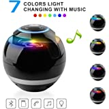 VICTORSTAR@ Wireless Bluetooth Speakers With Subwoofer Mini Round Hi-Fi Speaker Portable Speakers For Hands-Free Indoor Outdoor Bluetooth Speakers For IPhone IPad Android With Multi-colors (Black)