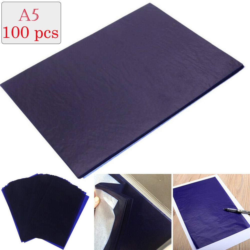 100 fogli di carta carbone A5 blu su entrambi i lati per legno tela 12,75 cm x 18,5 cm Supertool carta