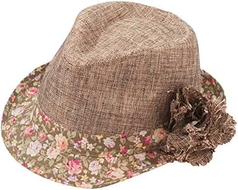 3c96e4486679c6 Milani Floral Design Fedora Hat with Floral Printed Band and Brim