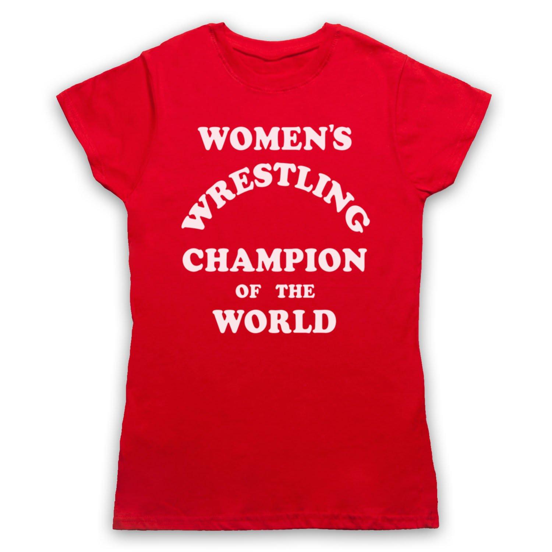 c30fca83 My Icon Art & Clothing Women's Wrestling Champion Of The World Womens T- Shirt: Amazon.co.uk: Clothing