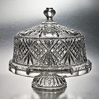 Amazon Com Godinger Dublin Crystal Cake Plate With Dome