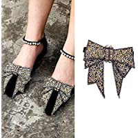 2PCS DIY Handmade Rhinestone Bow Butterfly Shoe Straps Band Shoe Flower Accessories Shoes Decoration Charms Flats High Heels/Pumps Holder Shoe Decor for Lady Women Girls (Style B#)