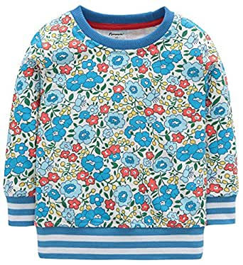 Fiream Girls Cotton Crewneck Cute Embroidery Sweatshirts(120Blue,2T)