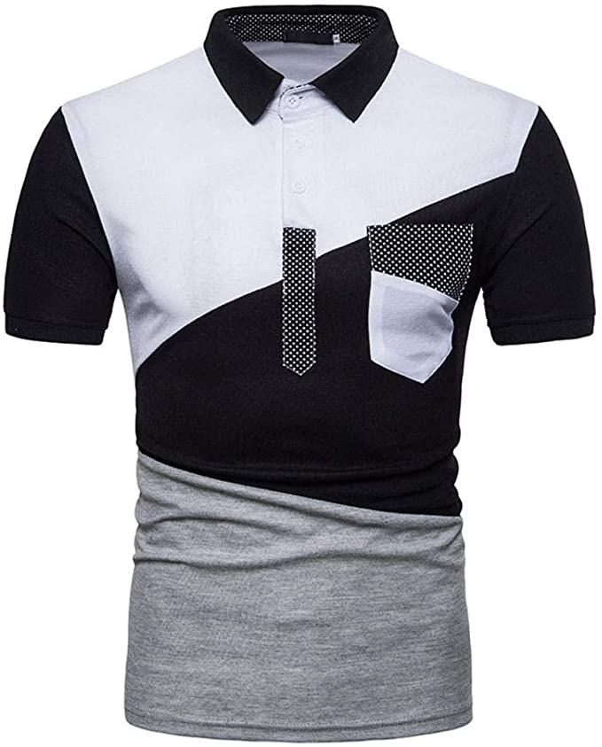 Betrothales Polo Hombre Manga Corta Patchwork Camisa Camisetas ...