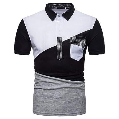 Camisa De Polo De Hombre Camiseta Corta De De Manga Patchwork ...