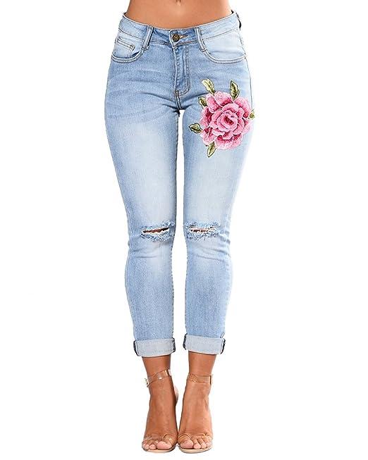 ZhuiKunA Jeans Skinny Bordado Pantalones Vaqueros Rotos para ...