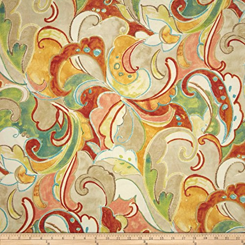 Swavelle/Mill Creek 0420416 Indoor/Outdoor Leena Apricot Fabric by The Yard,