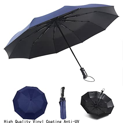 29460ae5c632 Travel UV Umbrella Folding Large Automatic Windproof 47 inch Lightweight  Compact 10 Ribs Auto Open & Close