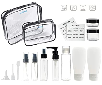 bef02414a25c MAGIGO Black Toiletries Leak Proof Travel Bottle Set (15 Pack),TSA Approved  Airline Carry-On with Pink Toiletry Bag for Women