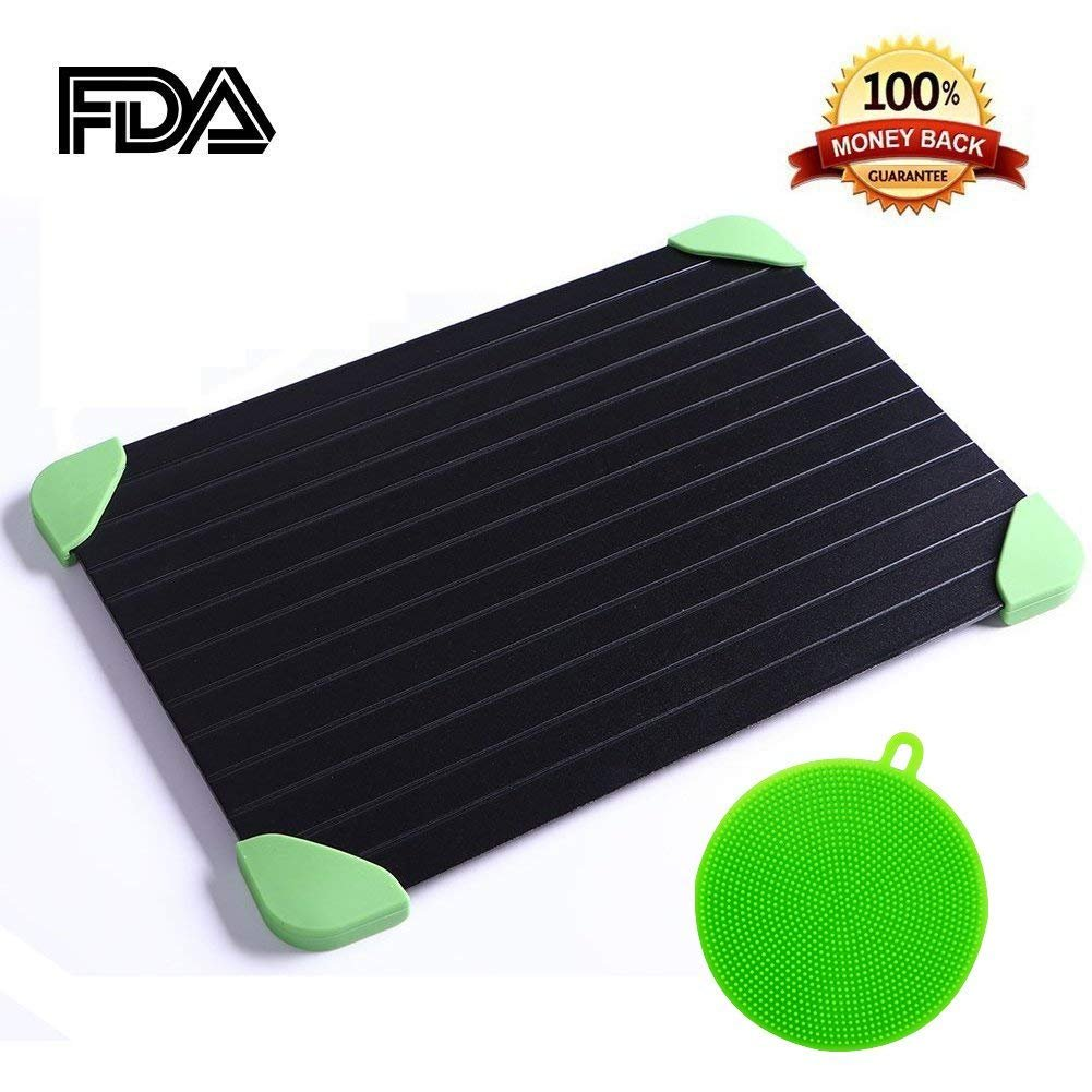 Warmsheep Fast Defrost Tray,Food Thawing Plate,Defrost More Meat/Frozen Foods The Safest Defrosting Tray without Electricity or Any Other Tools Bonus Silicon Scrub Pad