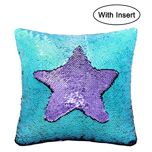 Basumee Sequin Pillow with Insert 16x16 in Reversible Sequins Cushion for Kids Bed Sofa (Teal and Lavender)