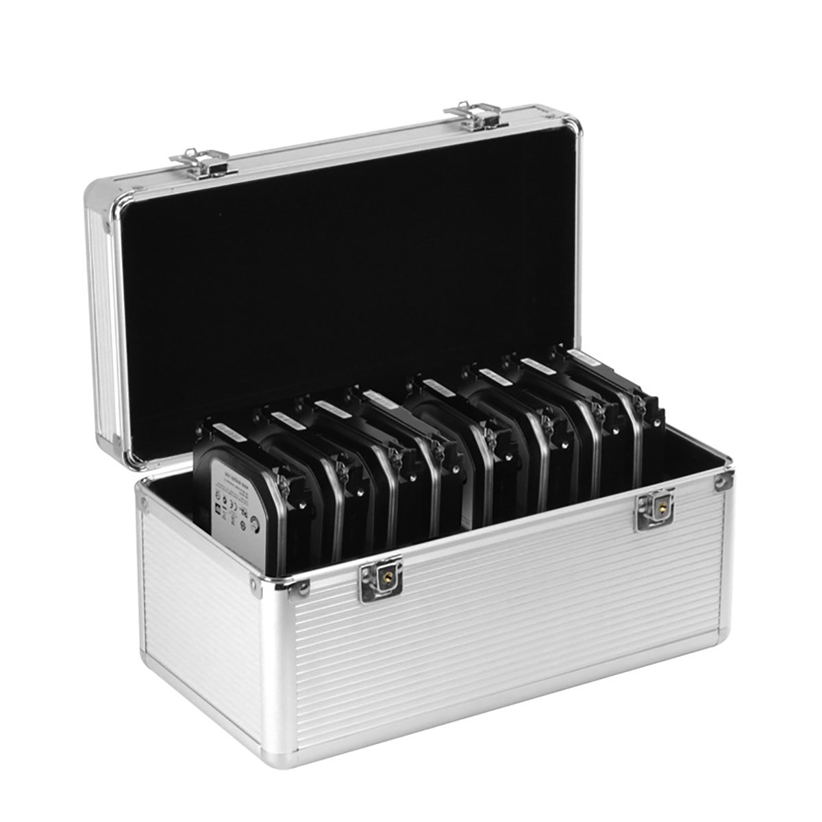 Hard Drive Case Box Suitcase - GLOTRENDS B86 Hard Drive Box with up to 8 Bays for 3.5 inch and 6 Bays for 2.5 inch SATA HDD/SSD Hard Drive Aluminum & EVA Material - Silver
